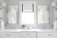 Roman shade with gray trim || Studio McGee