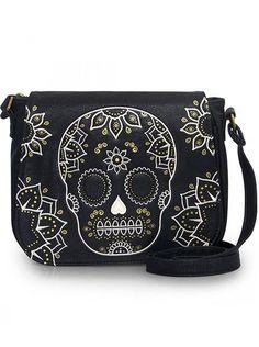 """Cream & Gold Skull"" Crossbody Bag by Loungefly (Black)"