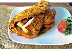 Healthy Chicken And Waffle Wrap by bodybuilding: Made with sweet potato, egg whites, chicken breast, Greek yogurt, spinach, tomatoes, cumin, onion, and garlic.  #Sandwich #Waffle #Chicken #Healthy