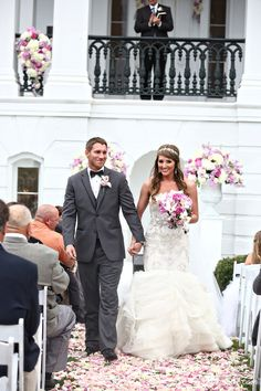 Congratulations to Mr. & Mrs! Front Lawn Ceremony @ Nottoway Plantation. Plantation Wedding, Southern Bride, Purple and Pink Wedding, Great Gatsby Wedding.