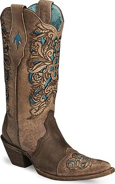Corral Lasor Tooled Turquoise Inlay Cowgirl Boots Size 10 Women's