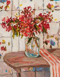 © Laura Jones ~ Flowering gum and striped cloth ~ 2016 Oil on linen at Olsen Irwin Gallery Sydney Australia