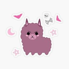 With witch elements skulls, stars, bats, moon and bones Llama Arts, Kawaii Goth, Transparent Stickers, Pastel Goth, Cute Stickers, Bats, Art Inspo, Skulls, Pikachu