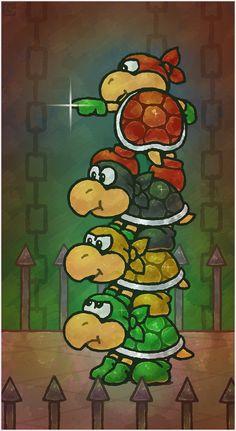 Paper Mario 64: The Koopa Bros. by Cavea on DeviantArt #nintendo #mario #fanart