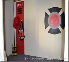 Fire Truck Logo And Firefighter Personalized Locker With Gear.
