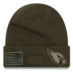 eba857555f5908 Youth Arizona Cardinals New Era Olive 2018 Salute to Service Sideline  Cuffed Knit Hat, Your Price: $25.99