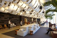 """#Dropbox Offices  In the cafeteria, strips of sail material dampen noise from the cooling system—and evoke the idea of """"cloud"""" storage."""