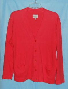 $24.99 -UNITED COLORS OF BENETTON Coral L/S Top Cardigan Jacket Women Sz M Medium ITALY