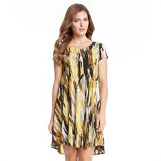 Karen Kane Citrus Twist Maggie Brush Printed Trapeze Dress
