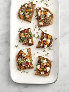 sweet potato & feta crostini-Ingredients  1/2 cup cubed sweet potatoes (cut them pretty small for these toasts, about 1cm) whole grain bread slices (I like the purple wh...