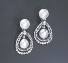 A PAIR OF CULTURED PEARL AND DIAMOND EAR PENDANTS, BY HARRY WINSTON