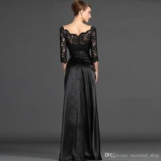 Black Lace Satin Long Evening Dress 2016 New Elegant Formal Party Dress Plus Size Mother of the Bride Dresses