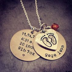 Baby stat stamped necklace by TuTuCuteStamped on Etsy, $28.00
