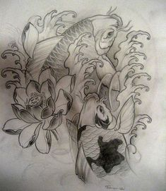 #koi fish and lotus #flower #tattoo
