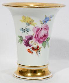 meissen rose design | MEISSEN PORCELAIN VASE, H 5 1/2 : Lot 72378