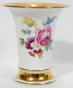 meissen rose design | MEISSEN PORCELAIN VASE, H 5 1/2 : Lot 72378