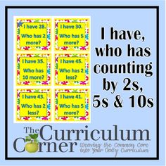 """Here's a set of """"I Have, Who Has?"""" cards for skip counting by 2s, 5s, and 10s."""