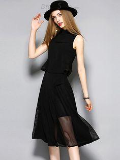 Fashion O-Neck Sleeveless Two Piece A-Line Dress