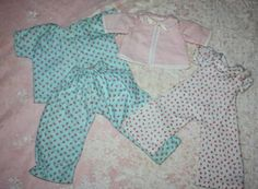Two Rose-Pedal Pajama Sets for Dolls 1950s