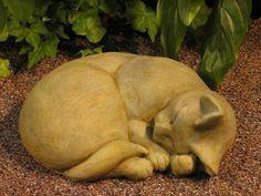 "CAT Sleeping STATUE 11"" Kitten Sculpture GREEN-BROWN STAIN Cast CEMENT GARDEN Outdoor Decor:Amazon:Patio, Lawn & Garden"
