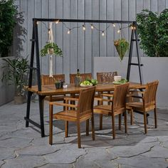 Wicker Dining Set, Patio Dining, Outdoor Dining, Patio Tables, Dining Sets, Outdoor Rooms, Dining Room, Dining Table, Solid Wood Table Tops