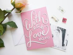 Pink Valentine's Card HandLettered With Lots of Love by BerinMade, £2.50