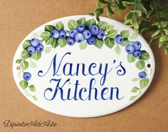 Blueberry oval ceramic kitchen sign, Custom wall plaque with name for kitchen, Personalized housewarming gift Kitchen Decor Signs, Kitchen Art, Wall Plaques, Wall Signs, Personalized Housewarming Gifts, Restaurant Signs, Tuile, Ceramic Houses, Tile Murals