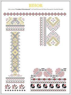 Semne Cusute: din TRANSILVANIA Folk Embroidery, Learn Embroidery, Embroidery Stitches, Embroidery Patterns, Cross Stitch Patterns, Knitting Patterns, Cross Stitch Freebies, New Things To Learn, Beading Patterns