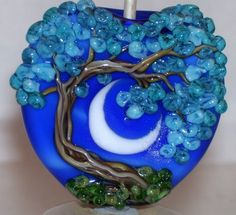 WSTGA~MOONLIT BLOOMING BLUES~FLORAL TREE handmade lampwork focal glass bead SRA #WindSweptTreeGlassArt #Lampwork By Molly Cooley