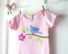 Bird on Branch Onesie- 6m 12m 18m- ballet pink appliqueFrom ChirpAndBloom