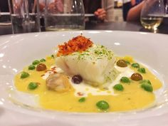 Wolvesmouth at the Wolvesden - Los Angeles, CA, United States. Halibut, Clam Chowder Sauce, Potatoes, Smoked Creme Fraiche, English Peas