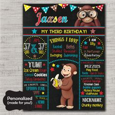 Curious George Birthday Sign,Curious George Chalkboard Sign,Any Size,Personalized birthday sign,All Ages,Birthday party sign,DPP81
