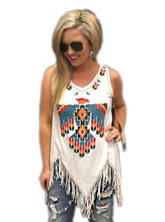 Double D Ranch Lone Flying Eagle Tank in Off White - Dusty Diamonds Boutique