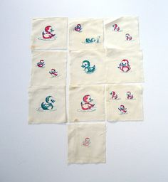 Duck Vintage Quilting Squares Spring Easter by injoytreasures, $10.00