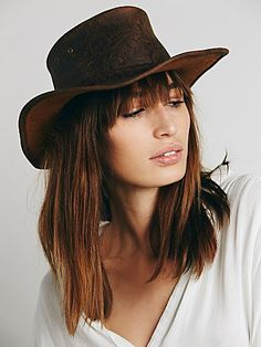 Embossed Leather Hat | Embossed washed leather hat with braided leather band.  *By Kakadu