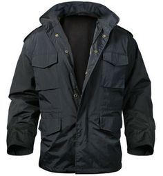 M-65 storm jacket black nylon $54.91 60% cotton and 40% polyester lining. nylon outershell.  Military Clothing. http://www.armynavyshop.com/prods/rc8644.html