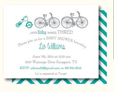 Bicycle baby shower invitations bikes tricycle baby shower ibaby baby makes three bicycle personalized baby shower or birthday invitations set of 10 filmwisefo