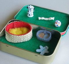Dalmatian dog miniature plush playset in Altoid tin by wishwithme, $20.00