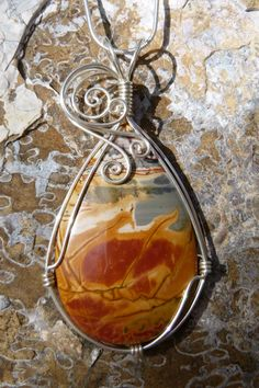 Cherry creek jasper necklace in argentium sterling silver, wire wrapped pendant