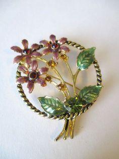 Vintage Pin Brooch Enameled Flowers Rhinestones Antiqued Gold Tone Signed T.C. #TC