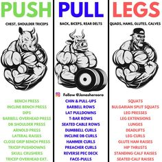 One of the most efficient workout-splits for the more advanced trainee is the Push / Pull / Legs.How it works is that on: Day You're training all your Pushing muscles (Chest, Shoulders and Triceps). Day You do your pulling movements (Back, Biceps, a Push Pull Workout Routine, Push Pull Legs Workout, Push Workout, Workout Splits, Gym Workout Chart, Workout Plan For Men, Gym Workout Tips, Workout Schedule, Weekly Workouts
