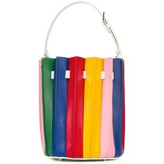Sara Battaglia Plissé Bucket bag (3 815 PLN) ❤ liked on Polyvore featuring bags, handbags, shoulder bags, fringe purse, colorblock handbags, bucket bags handbags, bucket handbags and colorful handbags