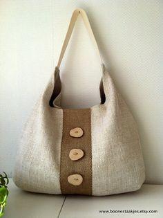 Bolso de mano lino antiguo reciclado con por boonestaakjes en Etsy