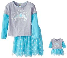 Dollie & Me Little Girls' 2 Piece Skirt Set Knit Screen Print Top with Printed Tulle Hanky Skirt, Grey/Turquoise, 6 Dollie & Me http://www.amazon.com/dp/B00Y5OLSI0/ref=cm_sw_r_pi_dp_lQhAwb0PGS0NA