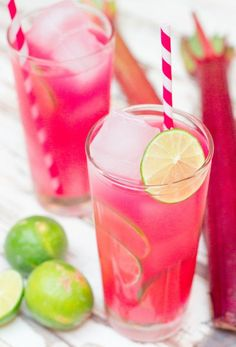 It's rhubarb season! But trust me, there is so much more to this colorful vegetable than just pie. There are margaritas, popsicles, and this delicious Rhubarb Limeade, just to start! Non Alcoholic Drinks, Cocktail Drinks, Cocktail Recipes, Cocktails, Summer Drinks, Fun Drinks, Cold Drinks, Beverages, Milk Shakes
