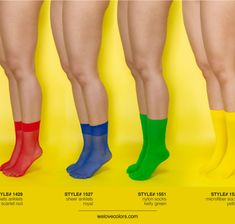 Color socks, knee highs and thigh highs in over 50 colors.