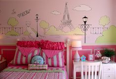 Pink bedroom with cool wall murals -Paris