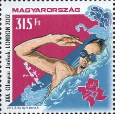 Hungary - 2012 Summer Olympics, London, Set of 2 (MNH) 2012 Summer Olympics, London Summer, Stamp Collecting, Olympic Games, Hungary, Kayaking, Postage Stamps, Swimming, Posters