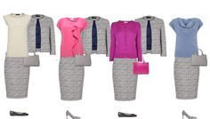 Business capsule wardrobe tweed suit