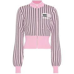 Miu Miu Cropped Jacket ($1,050) ❤ liked on Polyvore featuring outerwear, jackets, bomber jackets, pink, miu miu, cropped jackets, pink cropped jacket, pink jacket and miu miu jacket